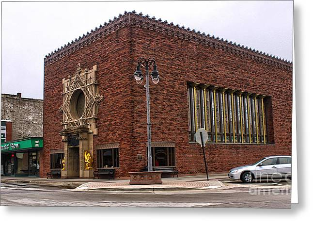 Grinnell Iowa - Louis Sullivan - Jewel Box Bank - 01 Greeting Card by Gregory Dyer