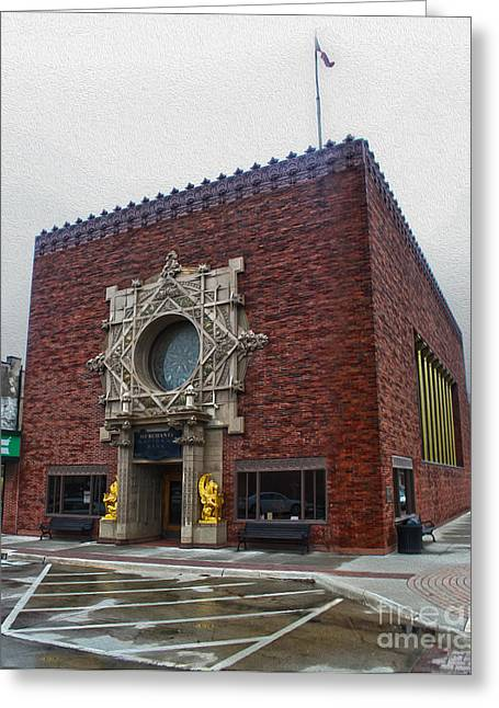 Grinnell Iowa - Louis Sullivan - Jewel Box Bank - 04 Greeting Card by Gregory Dyer