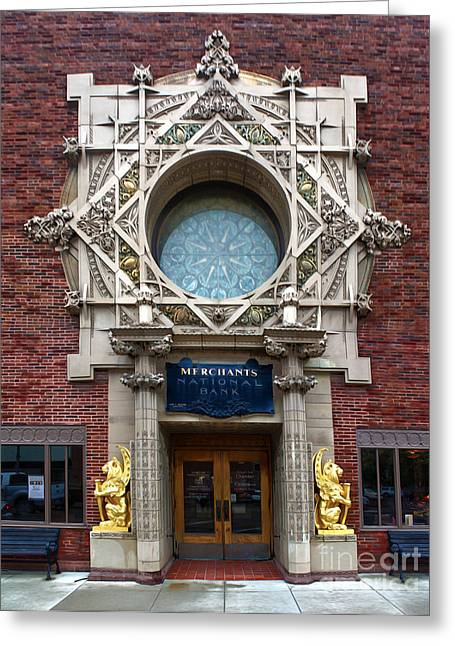 Grinnell Iowa - Louis Sullivan - Jewel Box Bank - 05 Greeting Card by Gregory Dyer