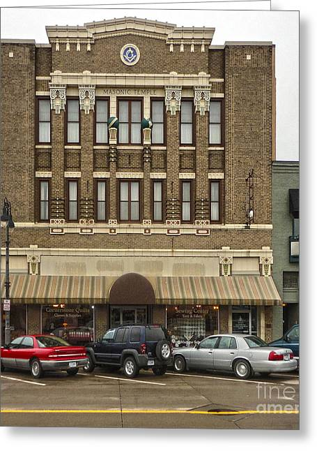 Grinnell Iowa - Masonic Temple -01 Greeting Card by Gregory Dyer