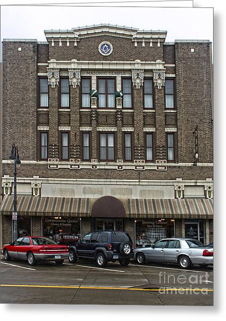 Grinnell Iowa - Masonic Temple -02 Greeting Card by Gregory Dyer