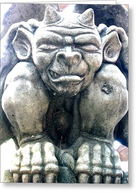 A Hot Summer Day Greeting Cards - Grinning Gargoyle Greeting Card by Brian Sereda