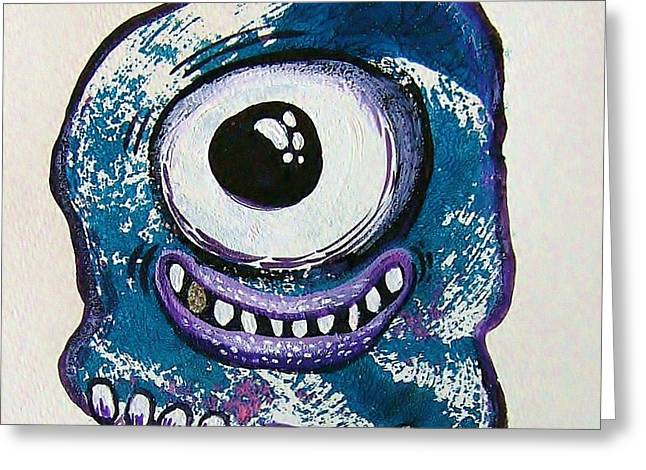 Printmaking Mixed Media Greeting Cards - Grinning Monster Greeting Card by Nancy Mitchell