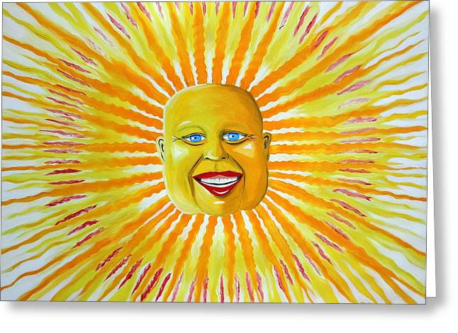 Prisma Colored Pencil Paintings Greeting Cards - Grinning Sun Greeting Card by Ru Tover
