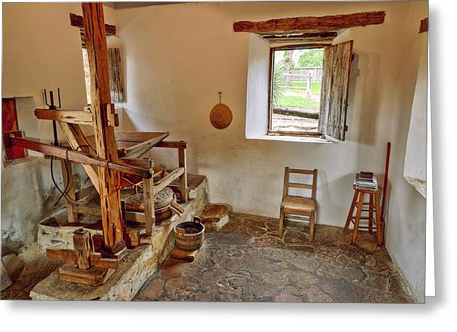 Catholic Art Greeting Cards - Grist Mill at Mission San Jose - San Antonio Texas Greeting Card by Silvio Ligutti