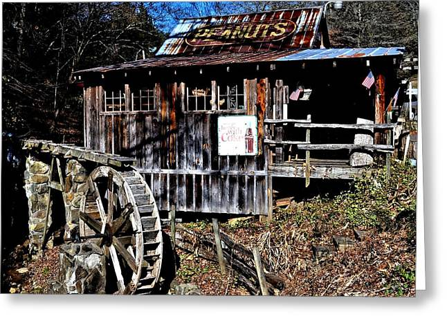 Grist Mill Greeting Cards - Grist Mill at the Peanut Shack Greeting Card by Tara Potts