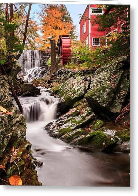 Americana Pictures Greeting Cards - Grist Mill-Bridgewater Connecticut Greeting Card by Thomas Schoeller