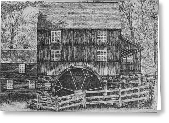 Grist Mill Drawings Greeting Cards - Grist Mill Greeting Card by Christine Brunette