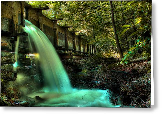 Sluice Greeting Cards - Grist Mill Flume Greeting Card by Michael Eingle
