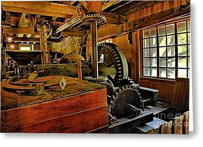 Spring Mill Greeting Cards - Grist Mill Gears Greeting Card by Adam Jewell