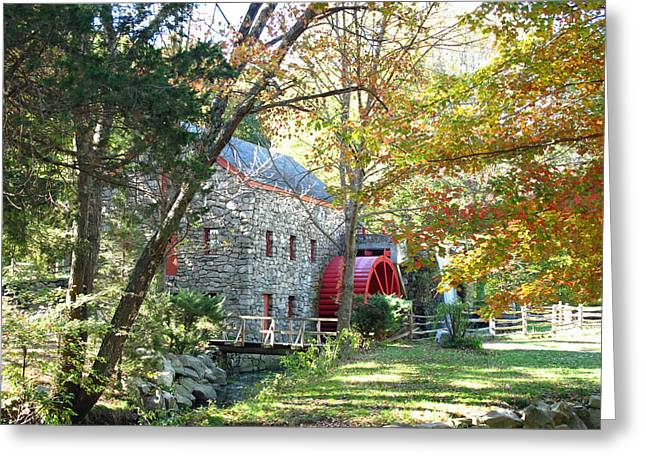 Sudbury Ma Greeting Cards - Grist Mill in Fall Greeting Card by Barbara McDevitt