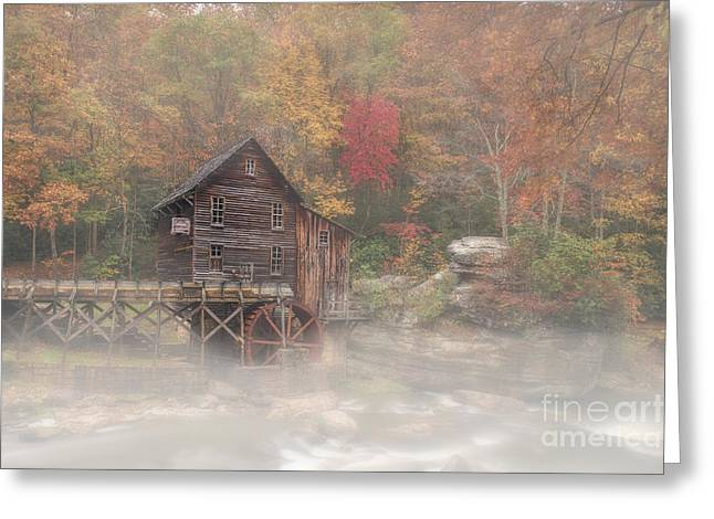 Grist Mill Greeting Cards - Grist Mill in morning in the fall Greeting Card by Dan Friend