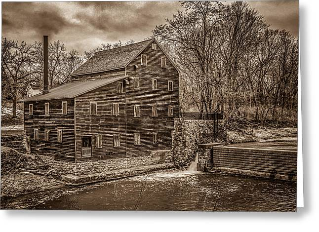 Grist Mill Greeting Cards - Grist Mill In Sepia Tone Greeting Card by Ray Congrove