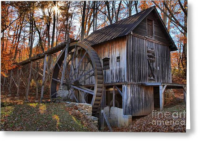 Wooden Building Greeting Cards - Grist Mill In The Fall Greeting Card by Adam Jewell