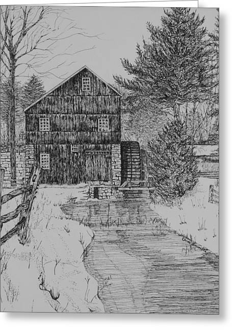 Grist Mill Drawings Greeting Cards - Grist Mill In Winter Greeting Card by Christine Brunette