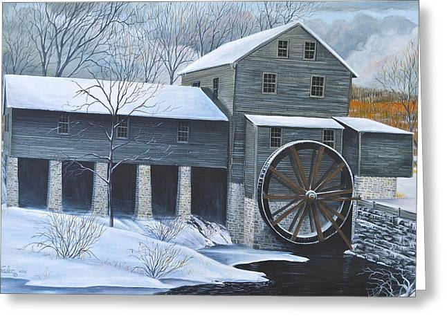 Grist Mill Paintings Greeting Cards - Grist Mill in Winter Greeting Card by Dave Hasler