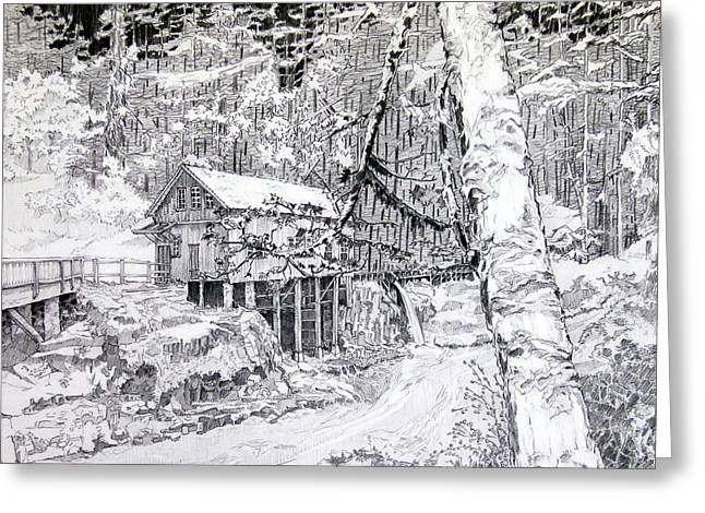 Grist Mill Drawings Greeting Cards - Grist mill on a winter night landscape Greeting Card by Gary Beattie