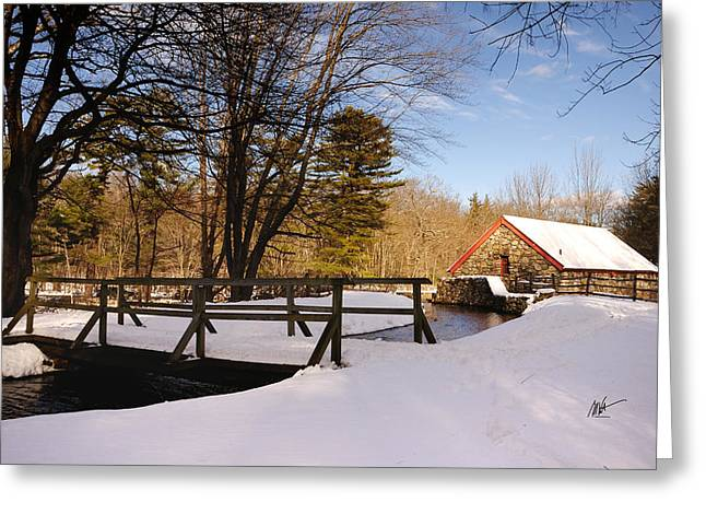 Sudbury River. Greeting Cards - Grist Mill Stream at Christmas - Greeting Card Greeting Card by Mark Valentine