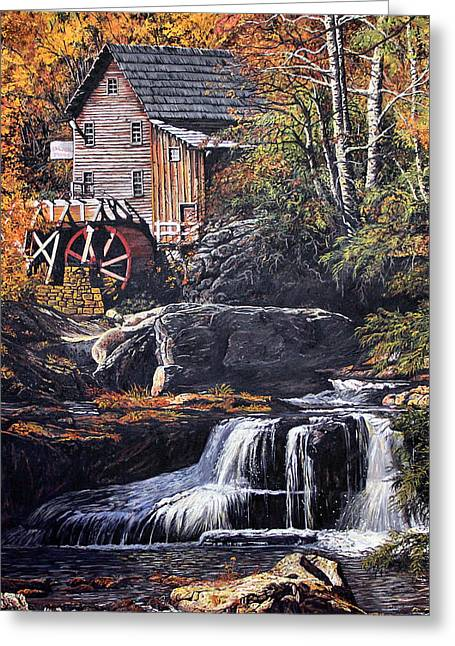 Grist Mill Paintings Greeting Cards - Grist Mill Greeting Card by Wanda Kightley