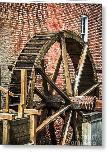 Grist Mill Greeting Cards - Grist Mill Water Wheel in Hobart Indiana Greeting Card by Paul Velgos