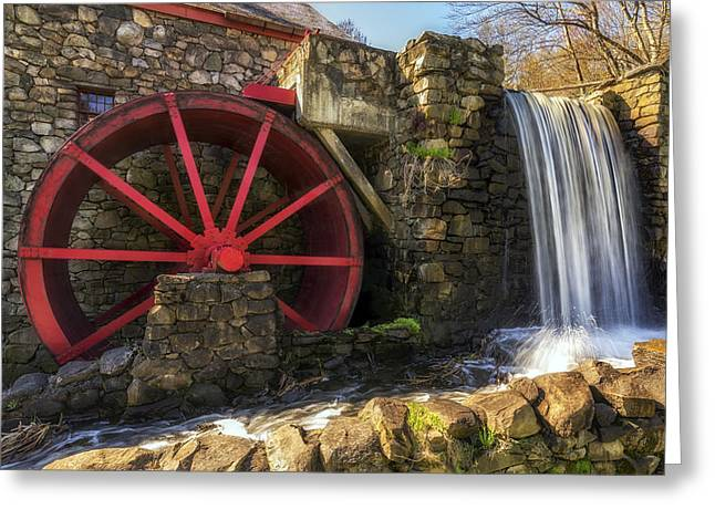 Wayside Inn Greeting Cards - Grist Mill Waterfall Greeting Card by Mark Papke
