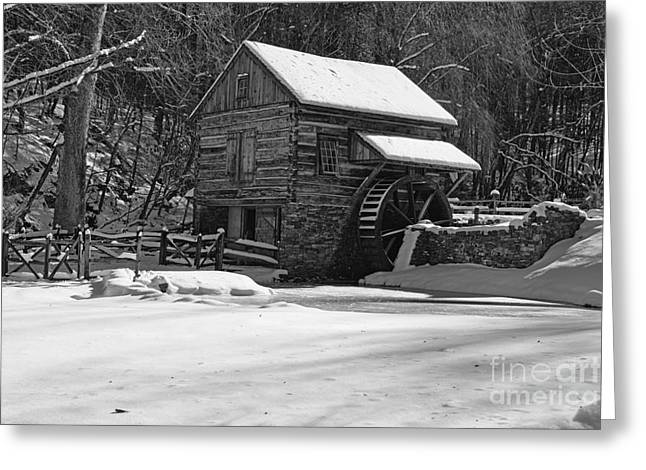 Snow Scene Landscape Greeting Cards - Grist Mill Winter in Black and White Greeting Card by Paul Ward