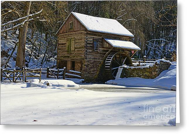 Snow Scene Landscape Greeting Cards - Grist Mill Winter Greeting Card by Paul Ward