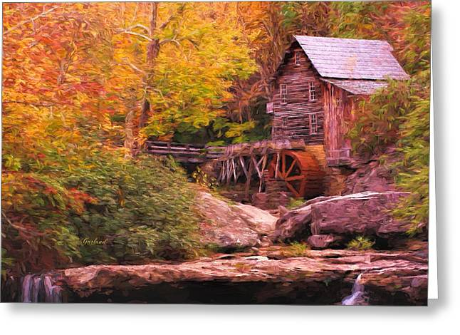 Grist Mill Mixed Media Greeting Cards - Grist Mill With Stream Greeting Card by Garland Johnson