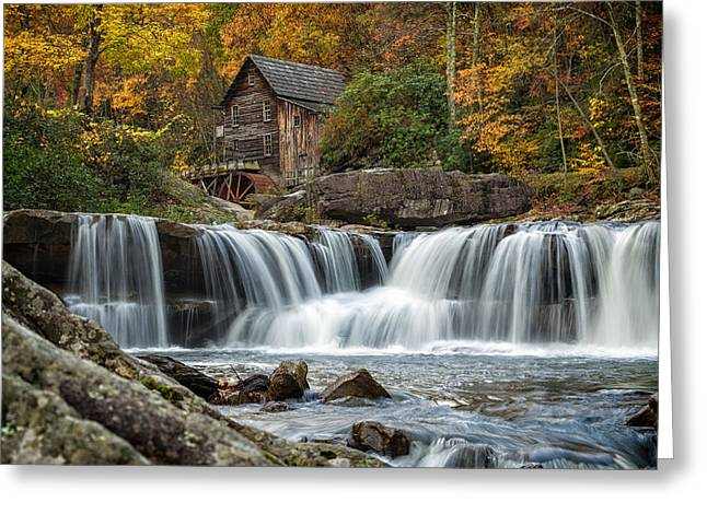 Glade Creek Greeting Cards - Grist Mill with Vibrant Fall Colors Greeting Card by Lori Coleman