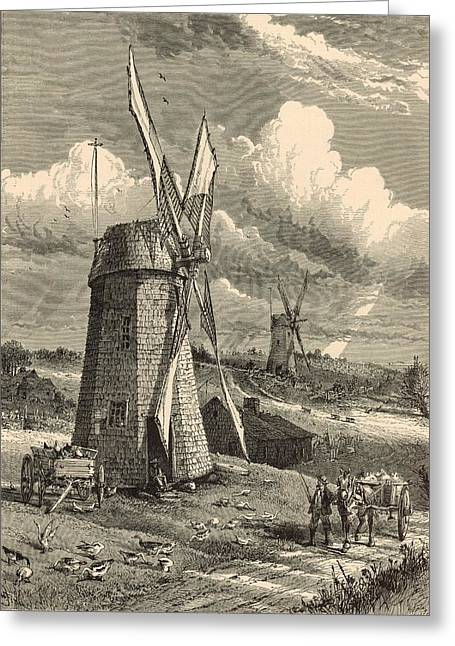 Grist Mill Drawings Greeting Cards - Grist Windmills at East Hampton 1872 Engraving by John Karst Greeting Card by Antique Engravings