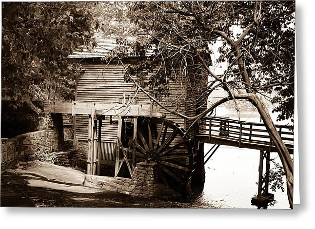 Canvases Greeting Cards - Gristmill at Stone Mountain in Sepia Greeting Card by Jim Hatley
