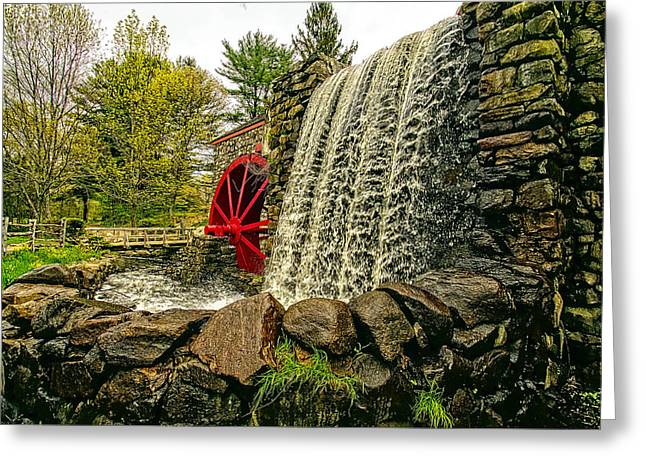 Sudbury Ma Photographs Greeting Cards - Gristmill Falls Greeting Card by Constantine Gregory