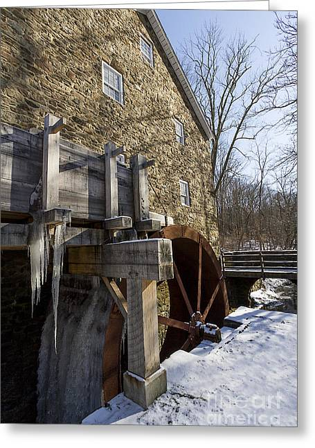 Stream Greeting Cards - Gristmill with frozen water wheel Greeting Card by Robert Wirth