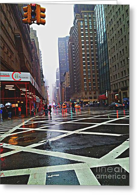 Crosswalk Greeting Cards - Grity City Greeting Card by Brianna Kelly