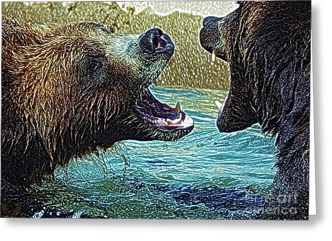 Preditor Greeting Cards - Grizz Play L Greeting Card by Dale Crum