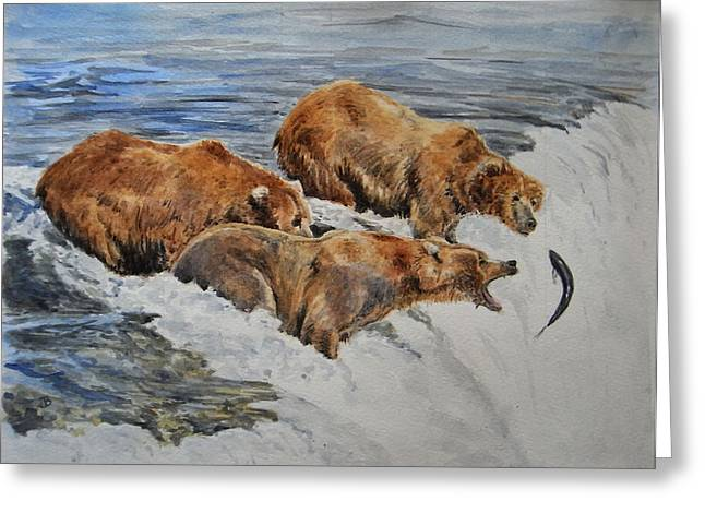 Grizzlies Fishing Greeting Card by Juan  Bosco