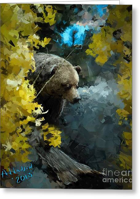 Arne Hansen Greeting Cards - Grizzly Greeting Card by Arne Hansen