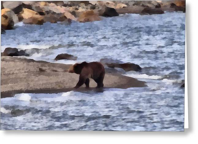 Salmon Paintings Greeting Cards - Grizzly At Yellowstone Lake Greeting Card by Dan Sproul
