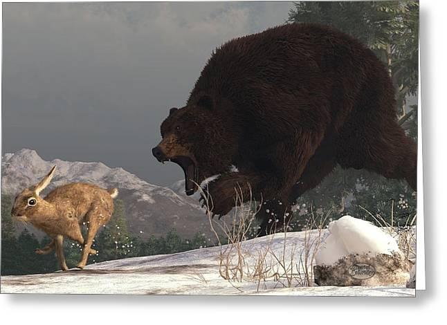 Grizzly Bear Chasing Rabbit Greeting Card by Daniel Eskridge
