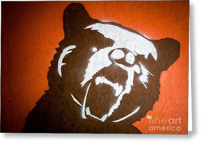 Painted Walls Greeting Cards - Grizzly Bear Graffiti Greeting Card by Edward Fielding