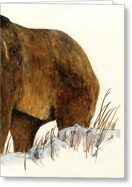 Forest Art Greeting Cards - Grizzly bear second part Greeting Card by Juan  Bosco