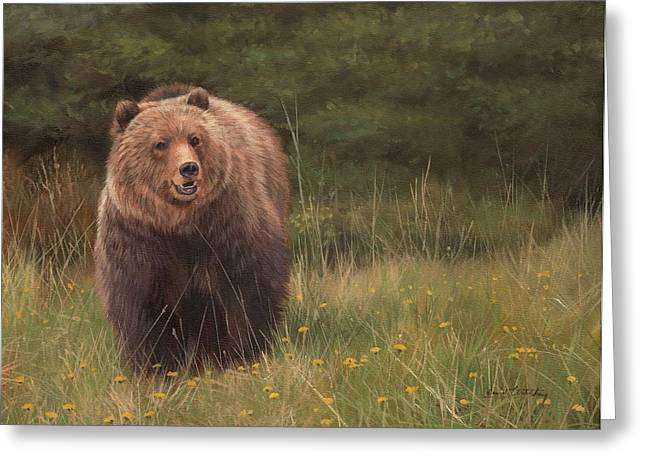 Grizzlies Greeting Cards - Grizzly Greeting Card by David Stribbling