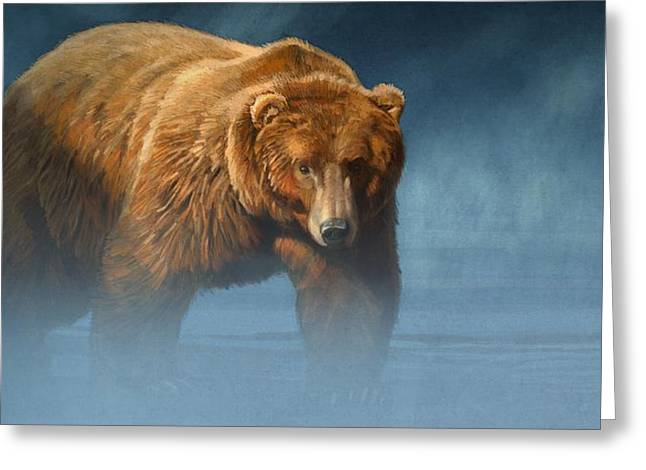 Grizzly Encounter Greeting Card by Aaron Blaise