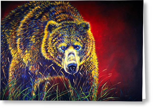 Kodiak Paintings Greeting Cards - Grizzly Gaze Greeting Card by Teshia Art