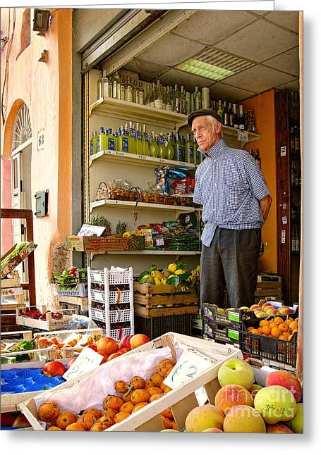 Southern Province Greeting Cards - Grocer Man in Procida Greeting Card by Jennie Breeze