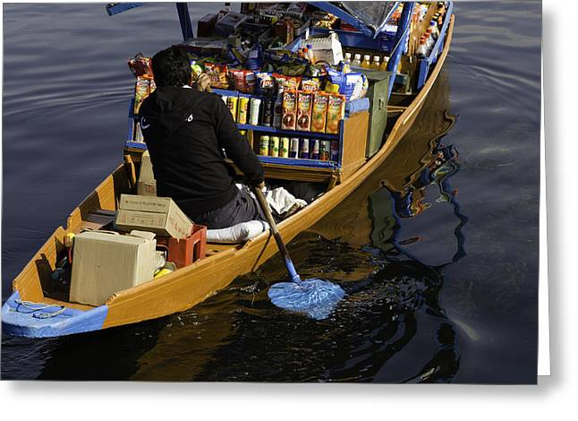 Ply Greeting Cards - Groceries at your doorstep - Grociers on a shikara on the Dal Lake Greeting Card by Ashish Agarwal