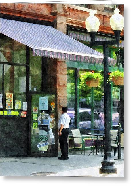 Awnings Greeting Cards - Grocery Store Albany NY Greeting Card by Susan Savad