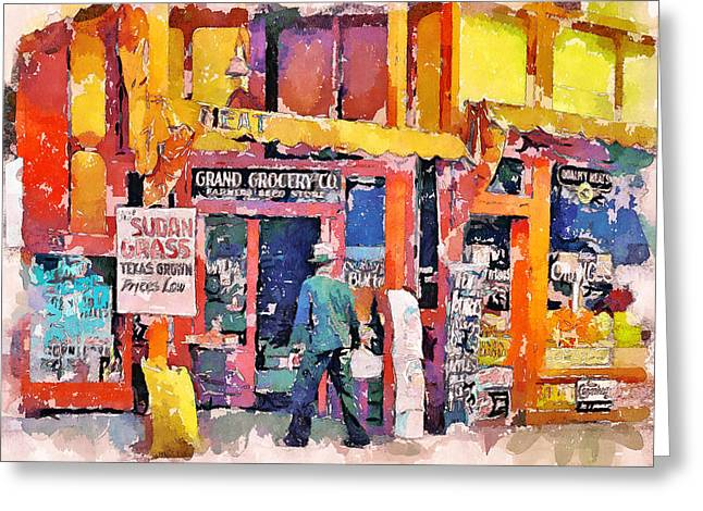 Live Art Greeting Cards - Grocery Store Greeting Card by Yury Malkov