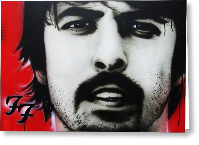 Contemporary Art Paintings Greeting Cards - Grohl Greeting Card by Christian Chapman Art