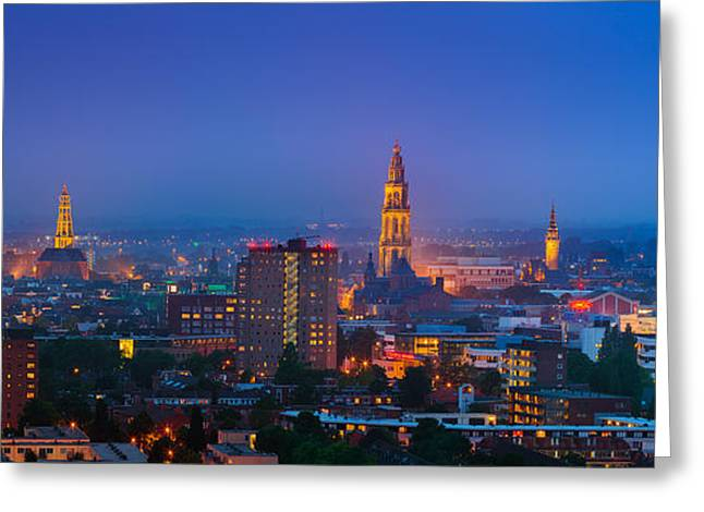 After Sunset Greeting Cards - Groningen town during blue hour Greeting Card by Henk Meijer Photography